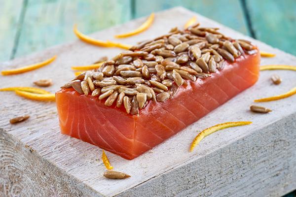 recetas de salmón ahumado Salmón con cítricos y semillas de girasol